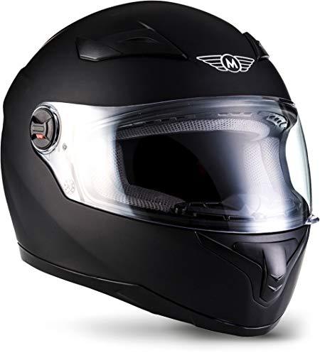 """Moto Helmets® X86 \""""Matt Black\"""" · Integral-Helm · Full-Face Motorrad-Helm Roller-Helm Scooter-Helm · ECE Visier Schnellverschluss Tasche XXL (63-64cm)"""