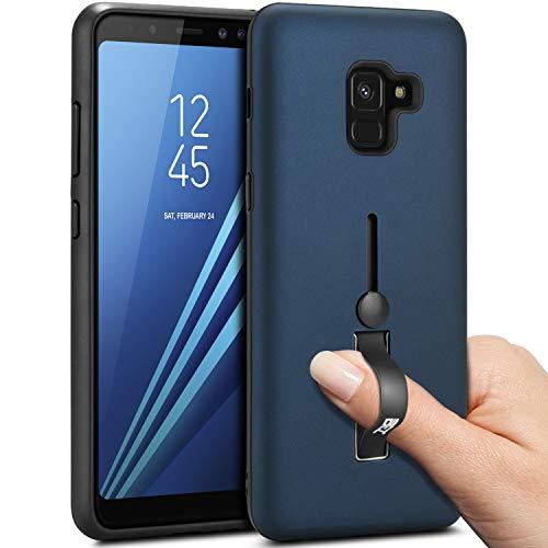 BEZ® Hülle für Samsung Galaxy A8 2018 Hülle, Handyhülle Kompatibel für Samsung A8 2018 Smartphone Fingerhalter mit Standfunktion, Stoßdämpfung und Kratzabweisung, Blau Marine