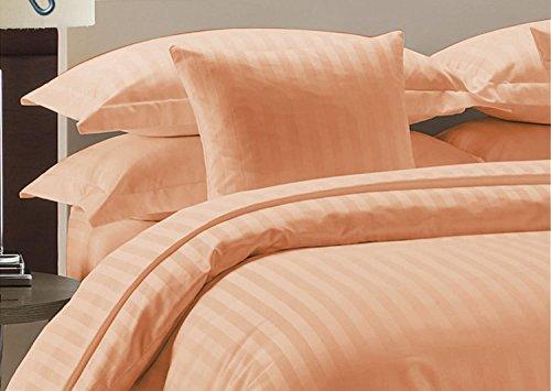 Komfort Bettwäsche 600tc 3-teiliges Bettbezug Set klein Double Größe 100% ägyptische Baumwolle Streifen, pfirsich, Kleines Doppelbett -
