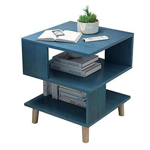 YLFW Küchentische Beistelltisch, 3 Reihen-moderner Quadratischer Tisch-einfacher Beweglicher Seitenschrank-Speicher-Gestell-Nachttisch Couchtisch-Kleiner for Wohnzimmer 16 × 16 × 22 Zoll,Blue -