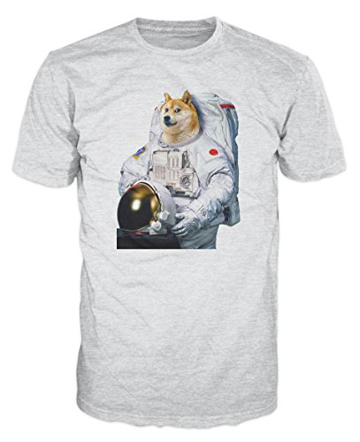 Doge Dog Astronaut Funny T-shirt (XL, Ash Grey)