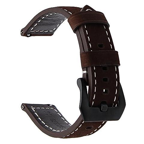 TRUMiRR Bracelet à bracelet en cuir véritable vintage 22mm Bracelet à bracelet rapide pour Samsung Gear S3 Classic Frontier, Gear 2 Neo Live, Moto 360 2 46mm, Asus ZenWatch 1 2 Hommes, Pebble Time