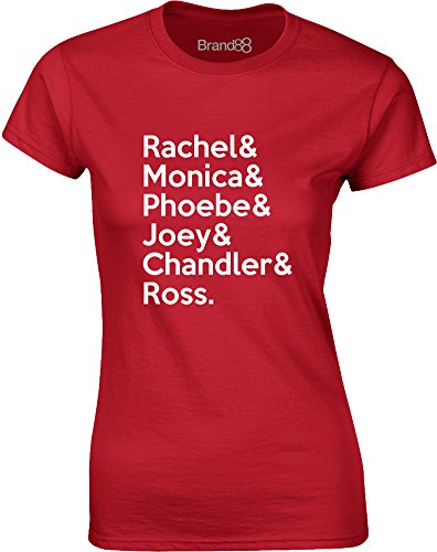 Brand88 - Friends Cast, Gedruckt Frauen T-Shirt Rote/Weiß