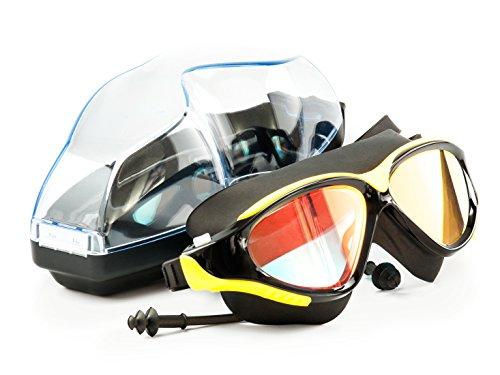 SHINIGAMI Verspiegelte Schwimmbrille Mit Ohrstöpsel Und Schutzhülle für Damen Und Herren - UV- Und Antibeschlagschutz – Verstellbar Silikonband