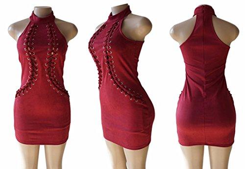 Il colore solido del vestito dalla cinghia del collo senza maniche di donna vino rosso