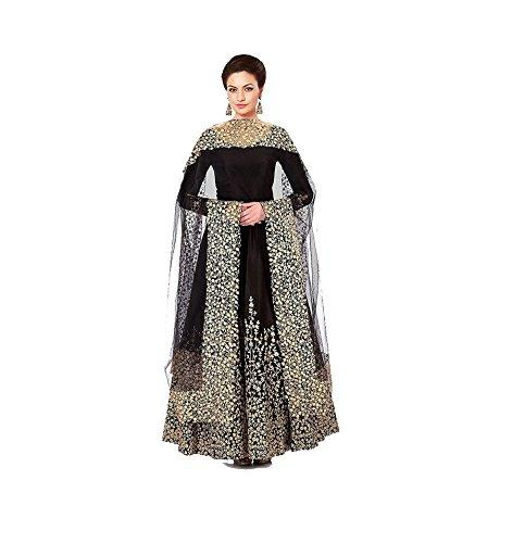 S A CREATION Women's Bangalore Silk Semi-Stitched Anarkali Gown Suit (Black, Free Size)