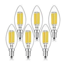 TAMAYKIM 6W Dimmbar Glühfaden LED Kerze Lampe, 2700K Warmweiß 600 Lumen, Ersatz für 60W Glühlampen, E14 C35 Fassung, Torpedo Form, 360° Abstrahlwinkel, 6er-Pack