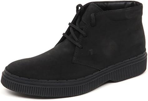 E5096 Polacchino uomo Black Tod's Polacco 2 Gomma Scarpe Boot Shoe Man