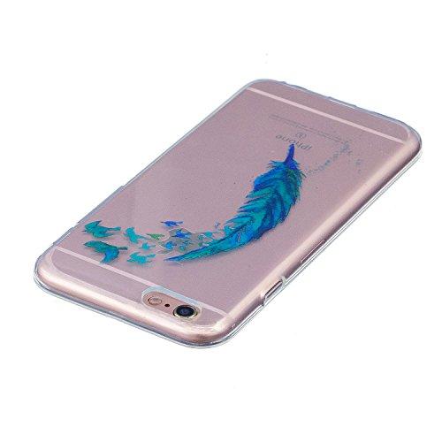 Cover iPhone 6S, Custodia iPhone 6, CaseLover Custodia per iPhone 6S / 6 (4.7 Pollici) Ultra Sottile Trasparente Morbida Gomma Gel TPU Silicone Protectiva Corpeture Flessibile Cristallo Chiaro Liscio  Piuma