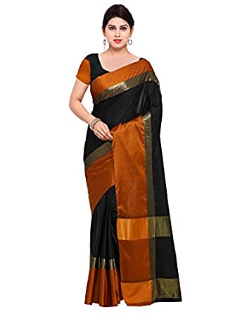 Paroma Art Women's Cotton Silk Saree With Blouse Piece (Black)