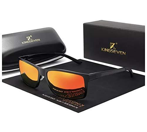 KINGSEVEN Verstellbare Sonnenbrille, 2019, rechteckig, polarisiert, UV400, ultraleicht, Al-Mg, (schwarz/red), Medium