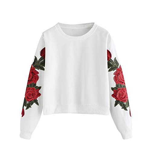 KEERADS Mode Femmes Chic À Manches Longues Rose Broderie Applique Sweat O-Neck Pullover Top Blouse (XL,Blanc)