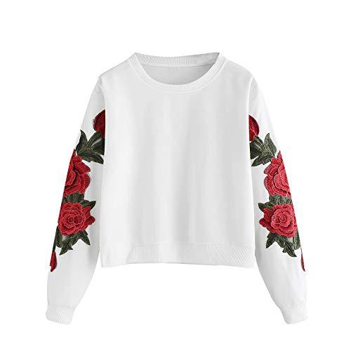Jaminy Damen Crew Langarm Sweatshirt Damen Sweatshirt mit Rose Applikation Herbst Winter Shirt Pullover S-XL (Weiß, S)