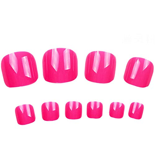 Ndier Solide Style Candy Toe Nails patch adhésif autocollants Conseils Toe Faux femmes Nail Art Tool (100 PCS Nail + colle + Pen + Stickers double face) -Ghost Rose Produits Beauté Maquillage