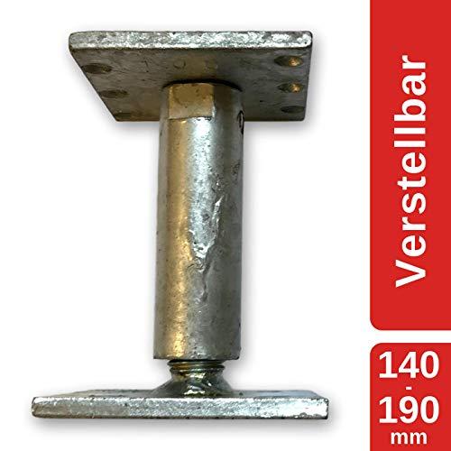 MERK Stützenfuß Pfostenträger höhenverstellbar (Höhe verstellbar 140-190 mm), Druckbelastung...