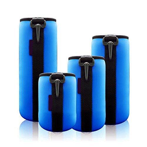 Mondpalast@ Blau schützenden Neopren Objektivtasche für Canon, Leica, Nikon, Olympus, Panasonic, Pentax, Samsung, Sigma, Sony, Tamron, Tokina-Objektive Objektive etc - 4 Größe Multi Pack (S, M, L & XL) - Haken und Gürtelschlaufe