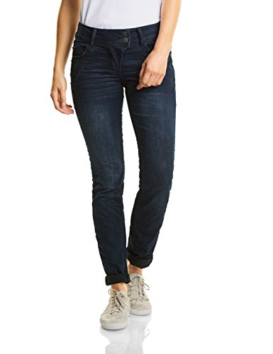 Wash Tapered Leg Jeans (CECIL Damen Straight Jeans 370939 Scarlett, Blau (Blue/Black Used Wash 10770), W36/L30)
