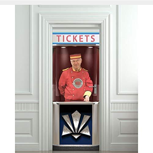WHXJ DIY 3D Wandaufkleber Wandbild Wohnkultur Ticket Booth Usher Cinema Abnehmbare Tür Aufkleber...