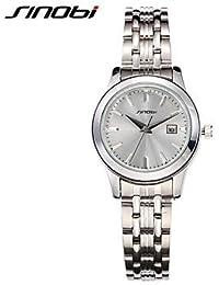 Relojes Hermosos, Mujer Reloj de Moda Cuarzo Calendario / Resistente al Agua Aleación Banda Plata Marca- SINOBI ( Color : Plateado , Género : Para Mujer )