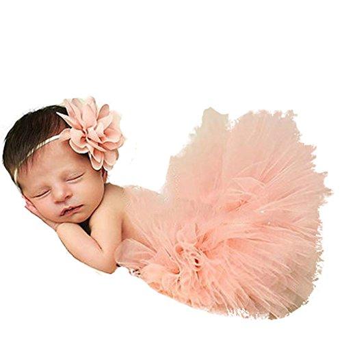 Chinget Fotos Fotografie Prop Baby Mädchen Kostüm Süßer Prinzessin Kleid Tüllkleid mit Kopfband Festzug Kleidung (Rosa 1#)