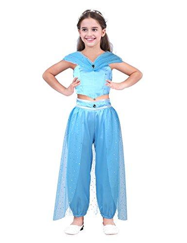 dPois Mädchen Arabische Prinzessin Kostüm Set Ärmellose Oberteil Lange Hose mit Pailletten Cosplay Outfits für Party Halloween Karneval Weihnachten Fasching Himmelblau 110/5 Jahre (Kleinkind Kostüm Jasmin)