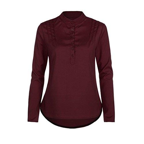 Chemise Femme,Manadlian Tuniques Femme Irrégulière Chemise À Manches Longues Décontractée Tops Blouse Rouge