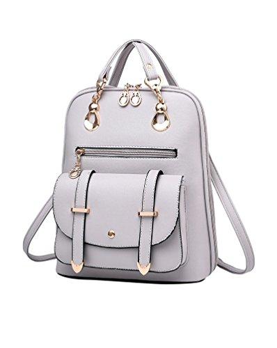 CHENGYANG Mädchen Classic Schultertasche Rucksack Für Outdoor Elegent Multifunktionales Handtaschen Hellgrau