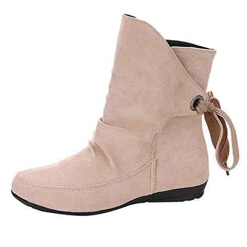 Logobeing Zapatos Mujer Botines Mujer Tacon Medio Planos Invierno Alto Botas de Mujer Casual Plataforma...