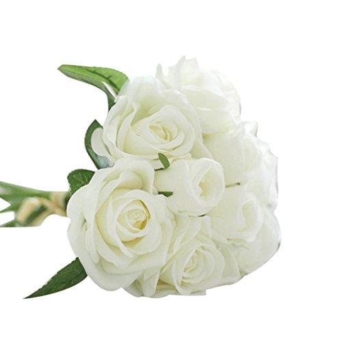 Longra Wohnaccessoires & Deko Kunstblumen Künstliche Seide Kunstblumen 9 Köpfe Blatt Hochzeit Blumen Dekor Bouquet Rose (White)