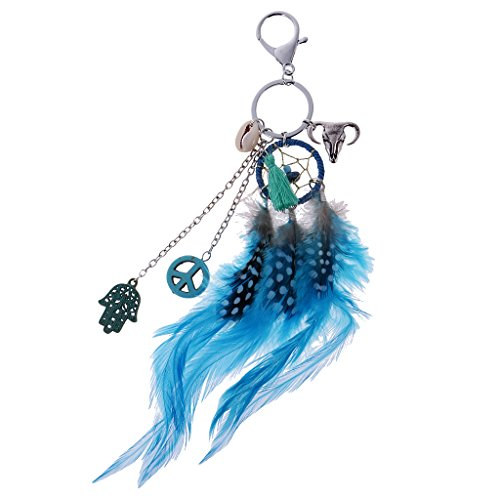 Prettyia Retro Key Chain Ring Dream Catcher Pendant Lobster Clasp Collectable Novelty - Blue