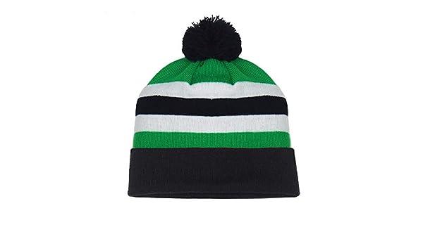 fan originals Retro Football Bobble Hat in Celtic Colours Green White