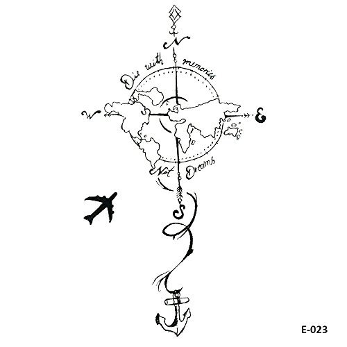 WYUEN 5 Blätter Flugzeug zur Erde Temporäre Tattoo Kinder Tattoo Aufkleber Frauen Männer Körperkunst 9,8X6 cm FE-023
