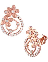 TBZ The Original 18KT Rose Gold and Solitaire Stud Earrings for Women