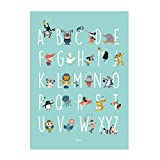 Julica Design ABC Poster für Kinder | Tiere | Alphabet Lernposter Deutsch | Buchstaben lernen im Kinderzimmer | Für Kindergarten, zum Schulanfang & 1. Klasse | Größe 50x70 | + BONUS Memory