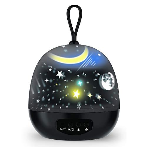 Sternprojektor Nachtlichter für Kinder, Nachtlicht Lampe 360 ° drehbarer Projektor Kid Nachtlicht 8 bunte Lichter Geschenk für Jungen und Mädchen 4 Sets Film Star Sea World Universe Karussell -