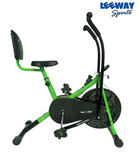Leeway Stamina Air Bike With Back Support| Exercise Cycle| Air Bike| Moving Handle Gym bike| Deluxe Design Lifeline for Cardio Fitness Work Out| Cross fit Equipment| Dual Action Back Support -Green  available at amazon for Rs.6899