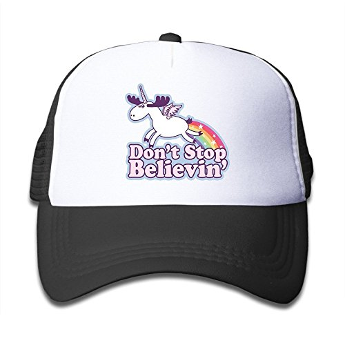 fboylovefor Youth KidsD Dont Stop Believin Unicorn Baseball Cap Hat Snapback Black