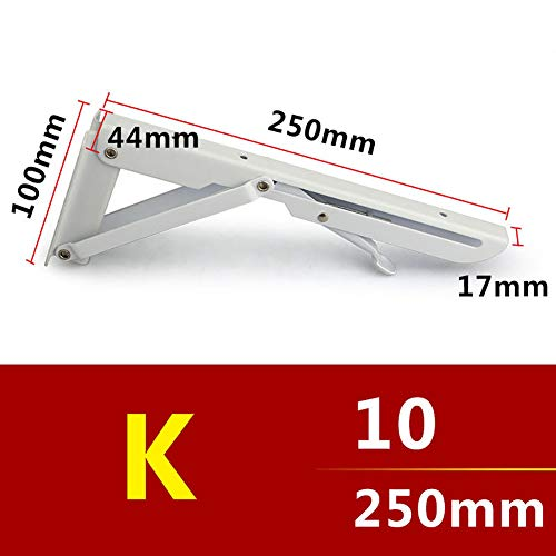 Homeofying Wandhalterung, Metall, faltbar, verstellbar, dreieckig, für Regale, 2 Stück, Stahl, weiß, 25 cm
