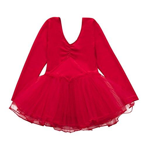 Xmiral Kleinkind Mädchen Gaze Trikot Bodysuit Dancewear Kleider Outfits Perfektes Kostüm für Rollenspiel Maskerade(L,Rot) -