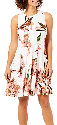 GABBY SKYE Damen Keyhole Floral Sleeveless Dress Freizeitkleidung, Coral/Ivory, 36 -