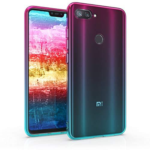 kwmobile Funda para Xiaomi Mi 8 Lite - Carcasa para móvil de TPU con diseño Bicolor - Rosa Fucsia/Azul/Transparente