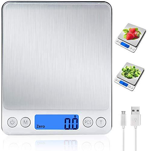 JENKI Digital Küchenwaage mit USB Aufladen,Digitalwaage 0.1g/3kg,Electronische Feinwaage mit PSC/Tara-Funktion/LCD Display ,9 Einheiten Konvertierung,Briefwaage,Taschenwaage