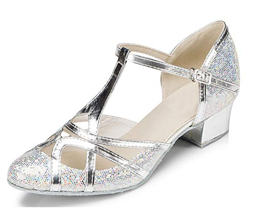 Minitoo qj6133Damen Geschlossen Zehen High Heel PU Leder Glitzer Salsa Tango Ballsaal Latin t-strap Dance Schuhe, Schwarz Silver-3.5cm Chunky Heel ,40 EU/7 UK Pu Chunky Heel