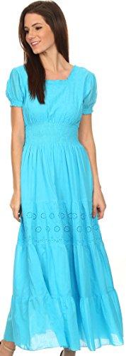 Sakkas Fresne Long Tall Floral brodé Scoop robe à manches courtes réglable Turquoise