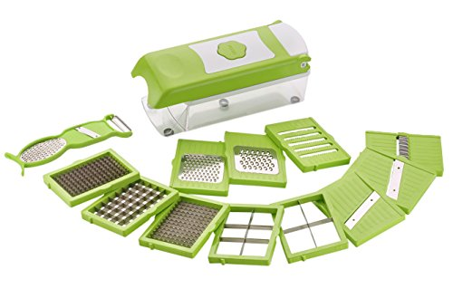 Amiraj Multi Chopper Set, 14-Cutting Blades, 12-Pieces, Green