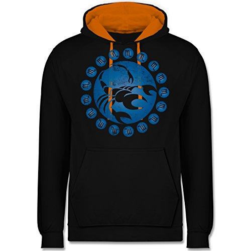 Symbole - Tierkreiszeichen Skorpion - Kontrast Hoodie Schwarz/Orange