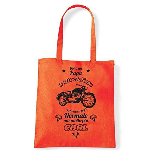 Art T-shirt, Borsa Shoulder Papà Motociclista, Shopper, Mare Arancio