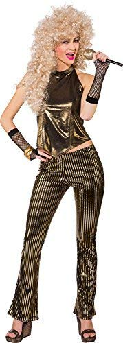 Fancy Me Damen 1980s Jahre 80s Gold Disco Diva Henne Do Abend Party Karneval Spaß Kostüm Kleid Outfit - Gold, UK 10 (EU 38)