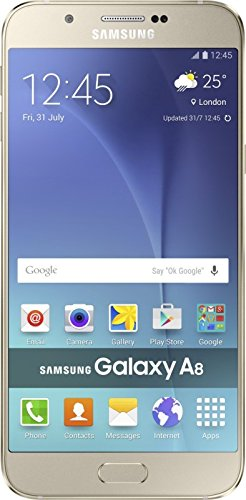 Samsung Galaxy A8 Android 5.1.1 Lollipop Mobile Phone with 4x1.8 GHz Octa Core Processor, 16 MP Camera and 5.7-inches screen (Gold)