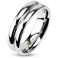 Anello da due file di Argento per uomo e donna in acciaio inox lucidato a specchio gioielli anelli (anello Donna timando partner anelli fidanzamento anelli Fido anelli anello in acciaio chirurgico)